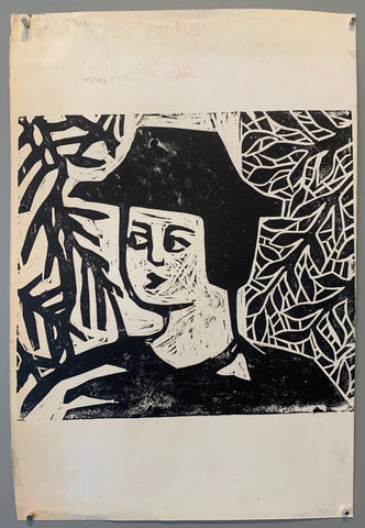 black and white woodblock print of a portrait of a man in a hat