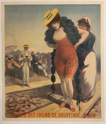 Turn of the Century poster of a woman and her maid, helping her put on a life preserver.