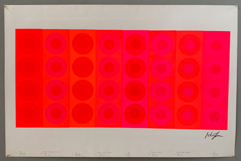 A rectangle of neon is made up of 6 panels. These are all different oranges and pinks and contain 4 rows of targets in converse colors.