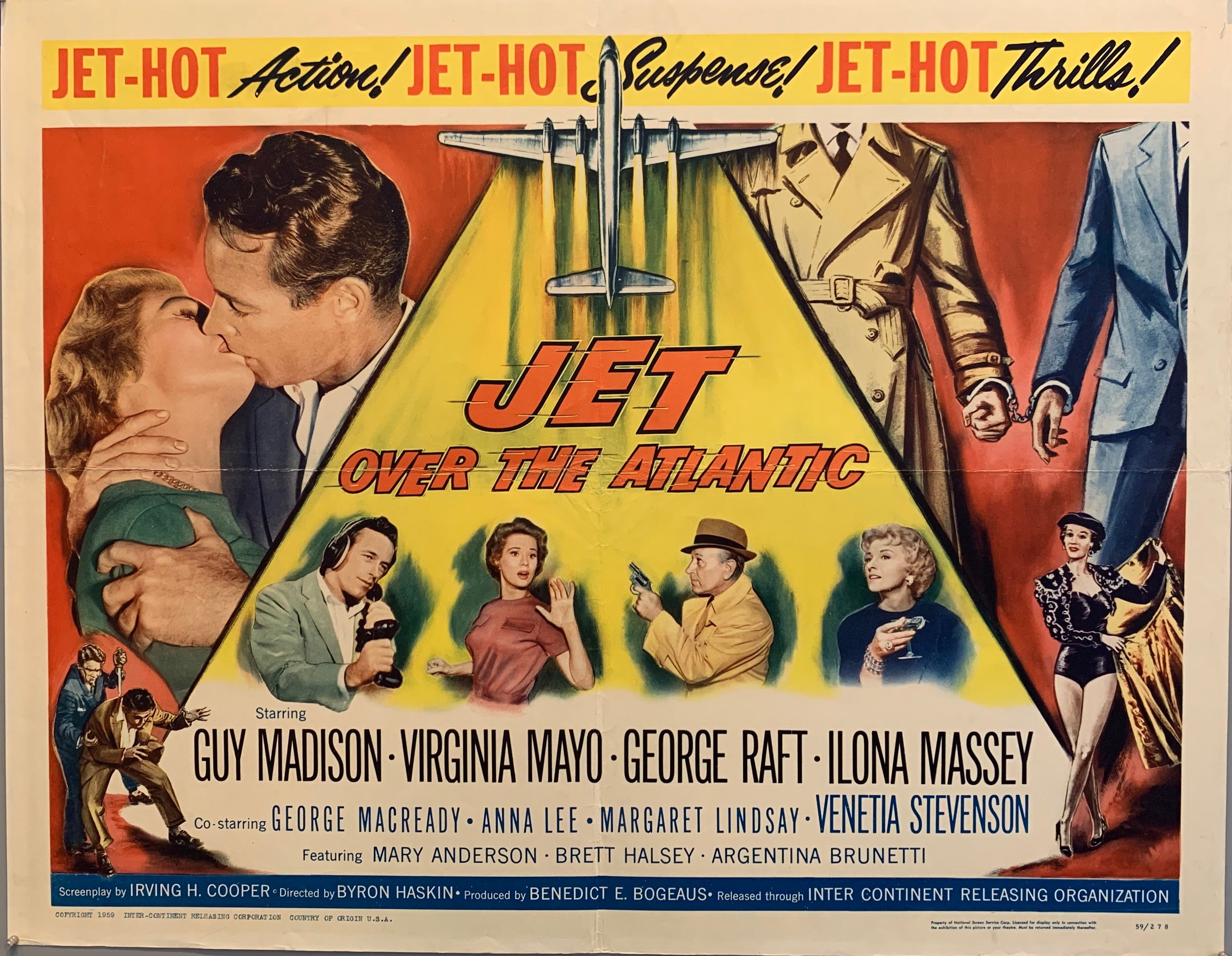 "movie poster two people kissing man with gun men handcuffed man being stabbed ""jet hot"""