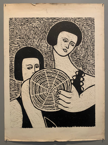 Women With Disk Woodblock Print
