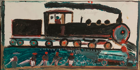 A painting of a black train.