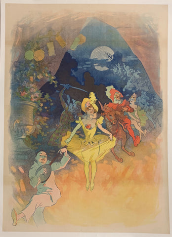 Turn of the Century poster of a circus troupe, including a jester, a woman in a yellow dress, and more people behind riding in horseback.