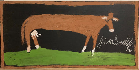A painting of a cow on a grassy field.
