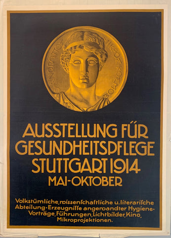 Poster with a medallion showing the head of an ancient greek athlete to advertise the cultural section of an exhibition in Stuttgart on hygiene (Ausstellung für Gesundheitspflege)
