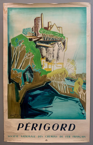 An abstract painting shows a castle on a hill surrounded by water. The colors are blue, green, yellow, brown, and white. the border is white and has brown and blue writing.
