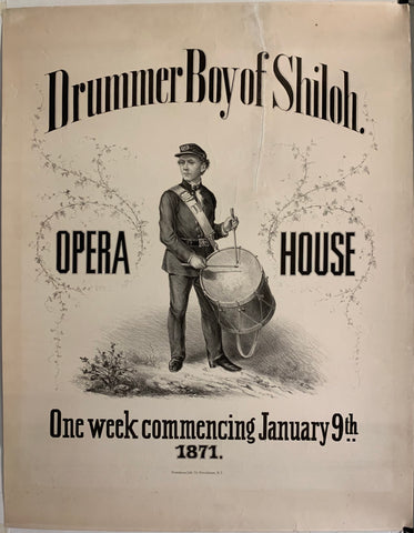 Poster featuring a black and white sketch of the Drummer Boy of Shiloh, John Clem