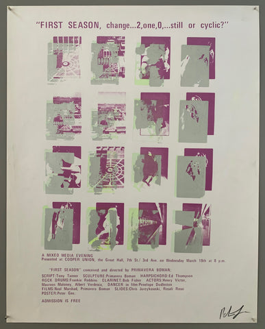 A series of squares containing scenes are shown. The text is on the top and the bottom in purple. The style of printing is pop art, where a lot of colors are put on top of each other. The colors featured are purple, transparent green, and silver.
