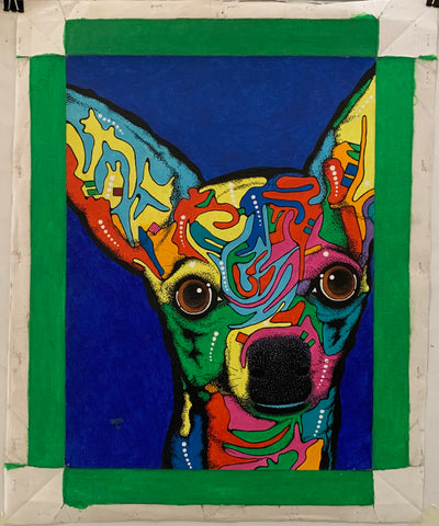 Painting of a multi-colored dog head