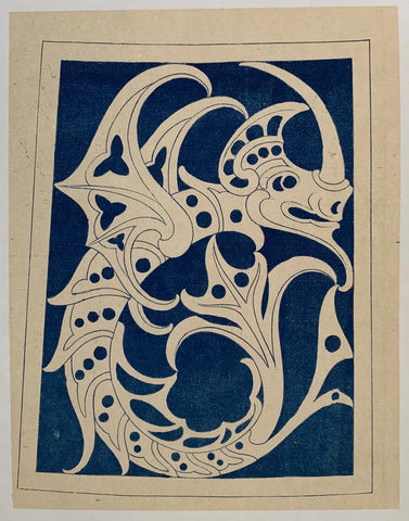 Blue and White Dragon Print