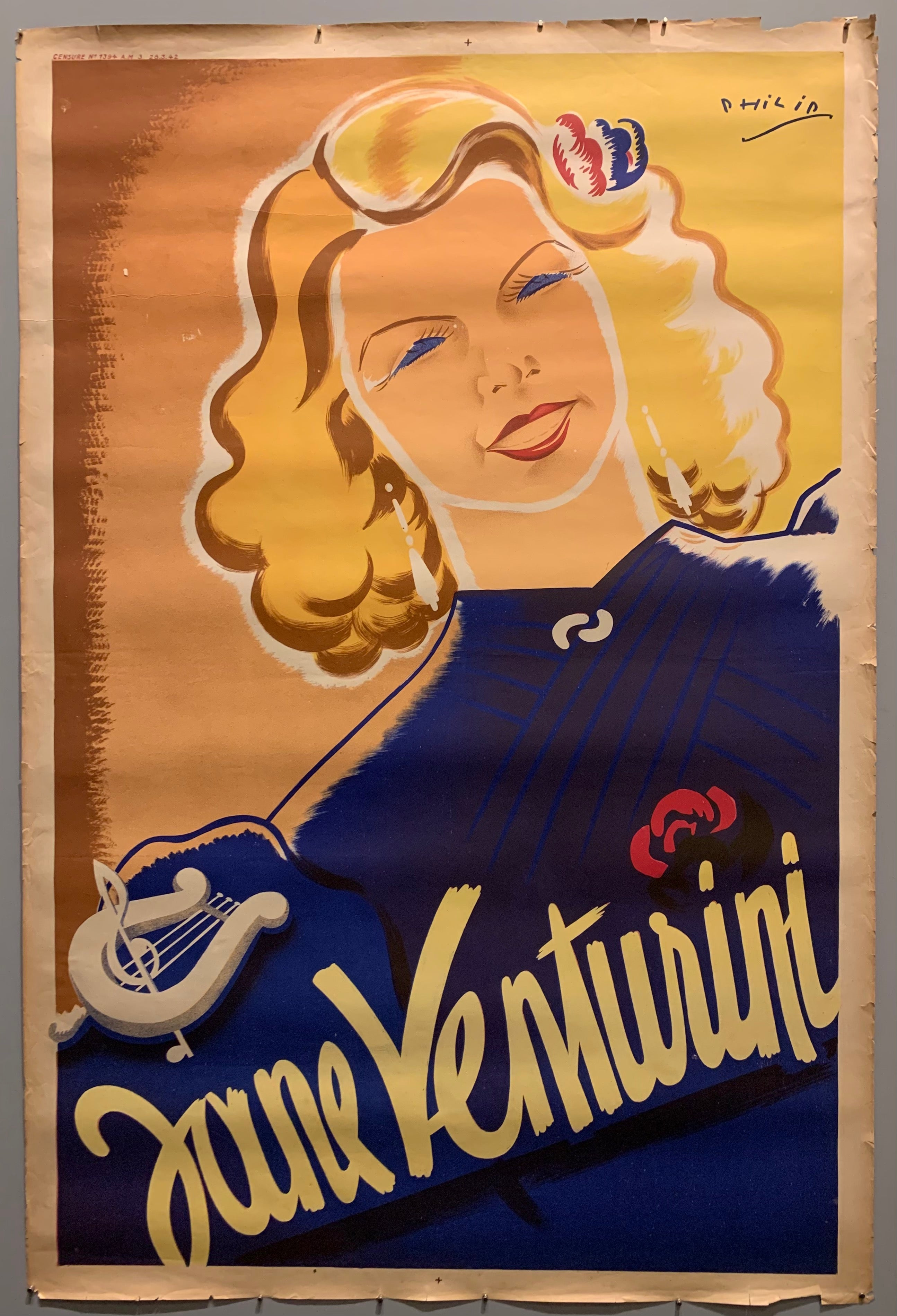 Poster of a blonde woman in a blue dress