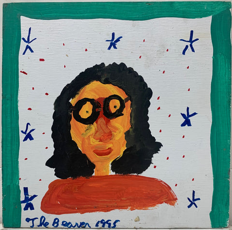A painting by the Beaver of a portrait of a woman with curly black hair and round glasses, surrounded by blue stars and red dots.