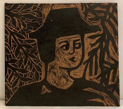 Woodblock of a man in a heat in front of a wall of leaves