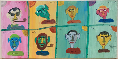 A painting by The Beaver divided into eight quadrants, each with a colorful man's portrait inside.