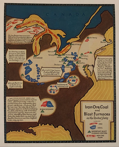 Iron Ore, Coal, and Blast Furnaces in the United States Poster