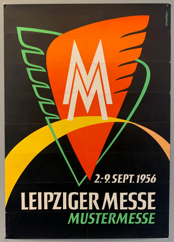 German poster for the Leipziger trade fair. The fair itself dates back to the 1460s, now the fair has its own large scale venue in Leipzig. This poster features the fair's logo, two M's stacked on top of each other, over two abstract wings.