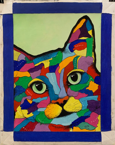 Painting of a multi-colored cat head