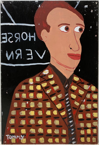 A Tommy Cheng portrait  of Dylan Thomas in a checker suit jacket at the White Horse Tavern.