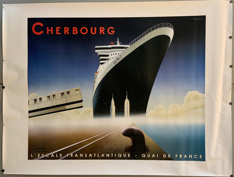 Poster of a cruise ship in the ocean. The Empire State Building and Chrysler Building stand before it.
