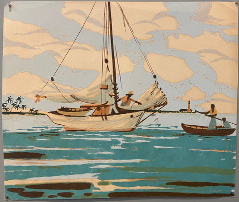 Sailboat and Wooden Schooner Print