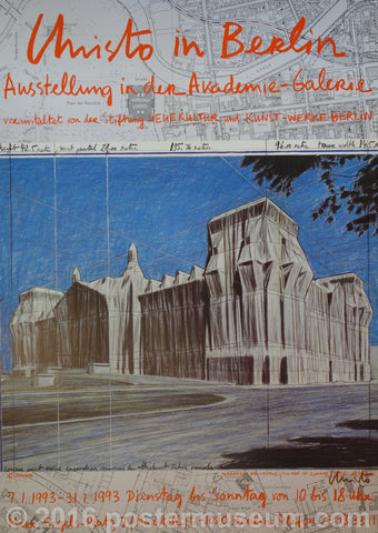 A red, blue, and grey poster including a pencil sketch by Christo of wrapped Reichstag and a street map of Berlin. Gallery information is written in red cursive on the top and bottom of the poster.