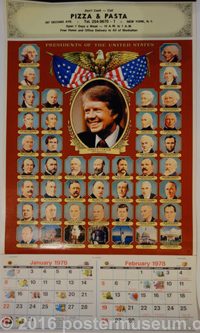 Presidents of the US Calender