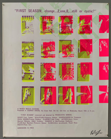 A series of squares containing scenes are shown. The text is on the top and the bottom in purple. The style of printing is pop art, where a lot of colors are put on top of each other. The colors featured are  neon pink, purple, neon yellow, green, and white.