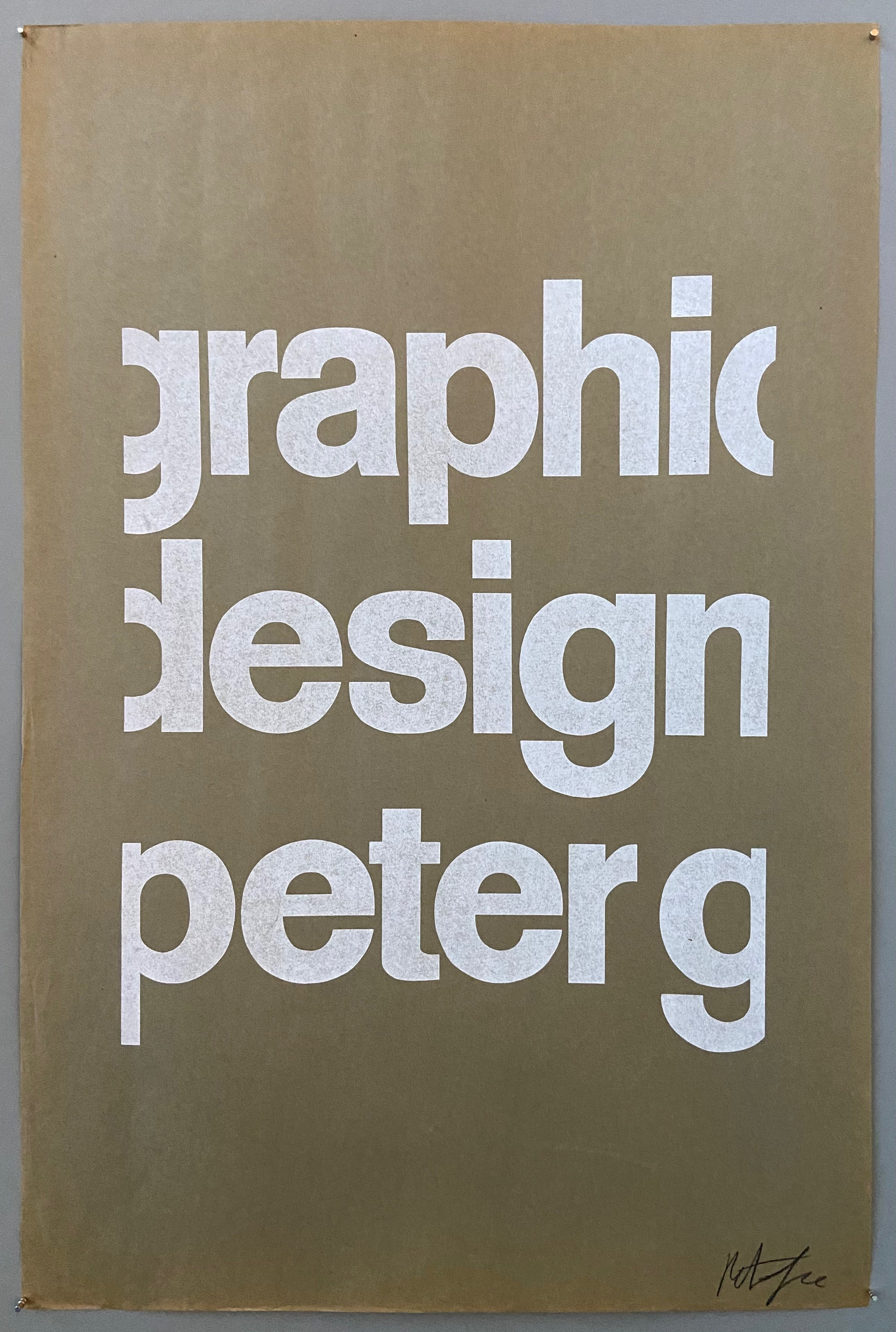 Brown poster with white font saying graphic design peter g