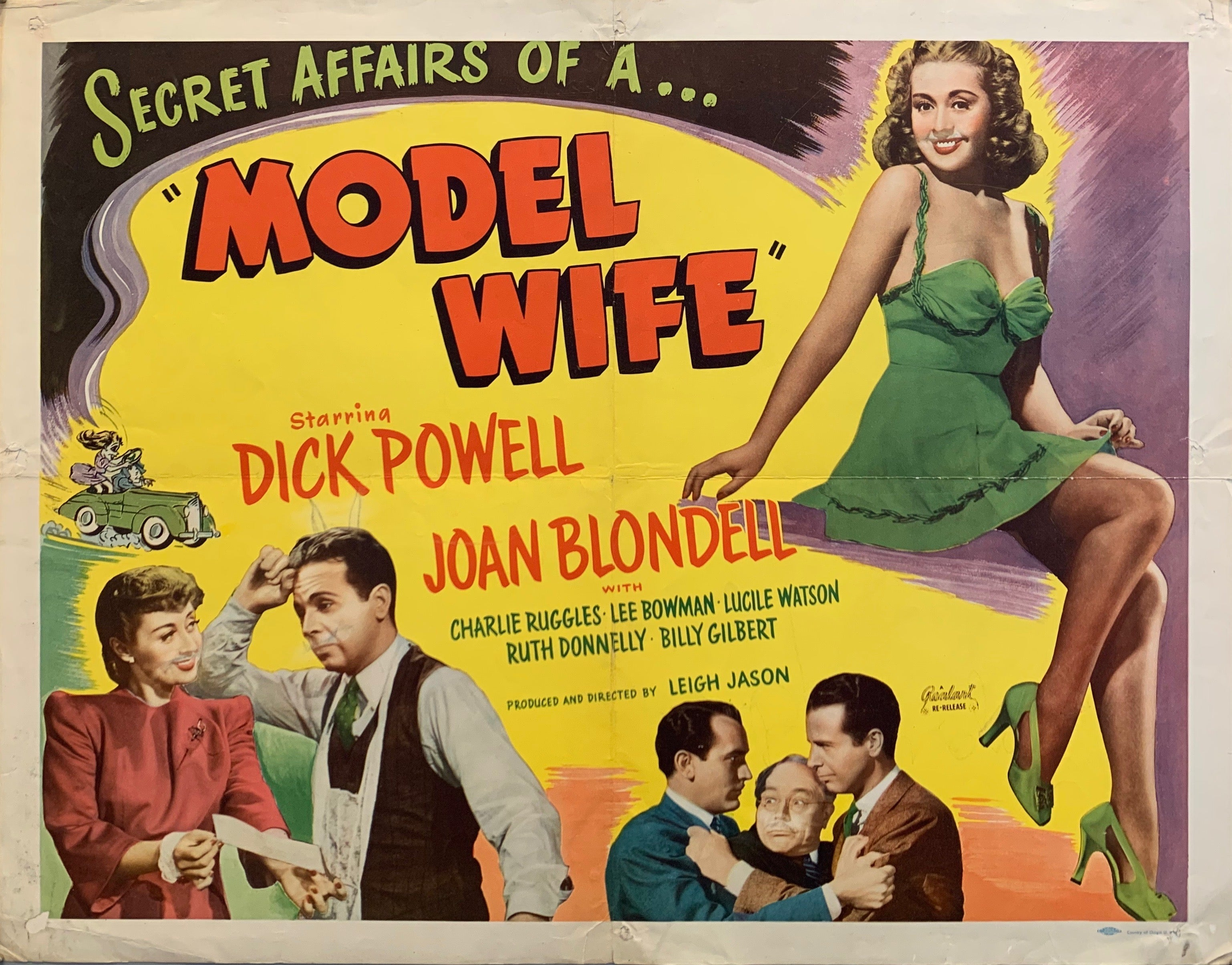 Model Wife movie poster, woman in green dress men fighting woman showing man paper