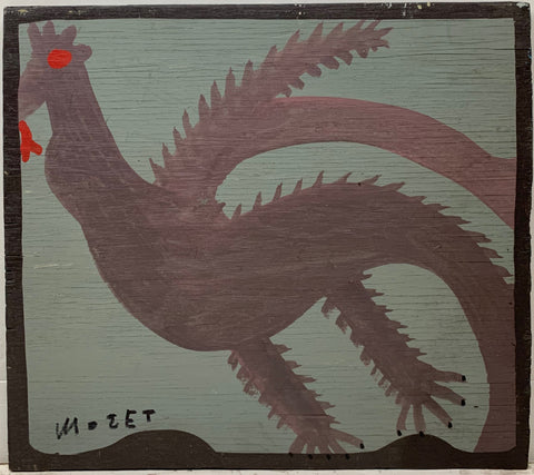 A Mose Tolliver painting of a purple bird with a red eye and tongue.