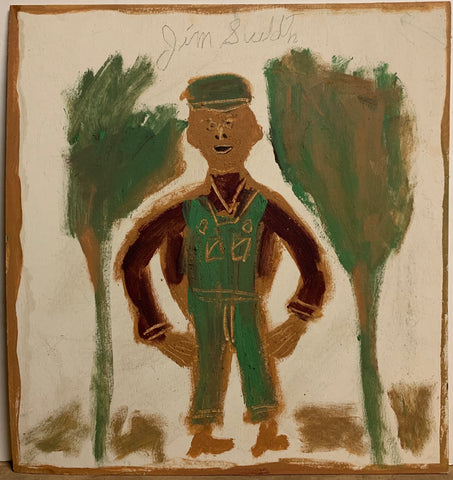 A Jimmie Lee Sudduth painting of a farmer in overalls.