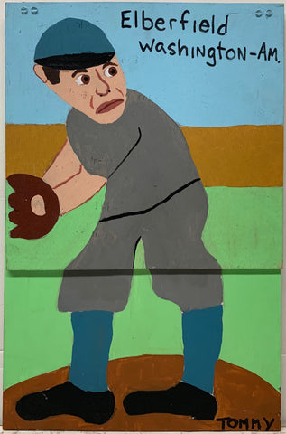 A Tommy Cheng portrait of Norman Elberfeld on a baseball field, at third base, in his baseball uniform. Also a portrait of George McBride.