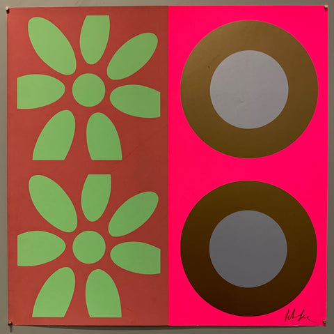 A square of four large motifs on paper. The colors are maroon with mint green flowers, the other is neon pink with brown and purple targets.