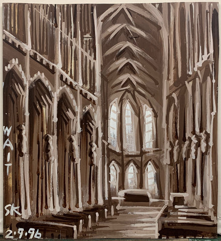 A painting by Steve Keen of a sepia tone Cathedral, empty.