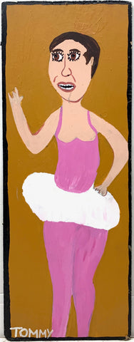 Tommy Chang portrait of a ballet dancer in a pink outfit with a tutu.