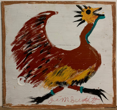 A Jimmie Lee Sudduth painting of a running chicken.