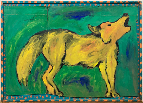 A Brian Dowdall painting of a yellow wolf howling against a green background.