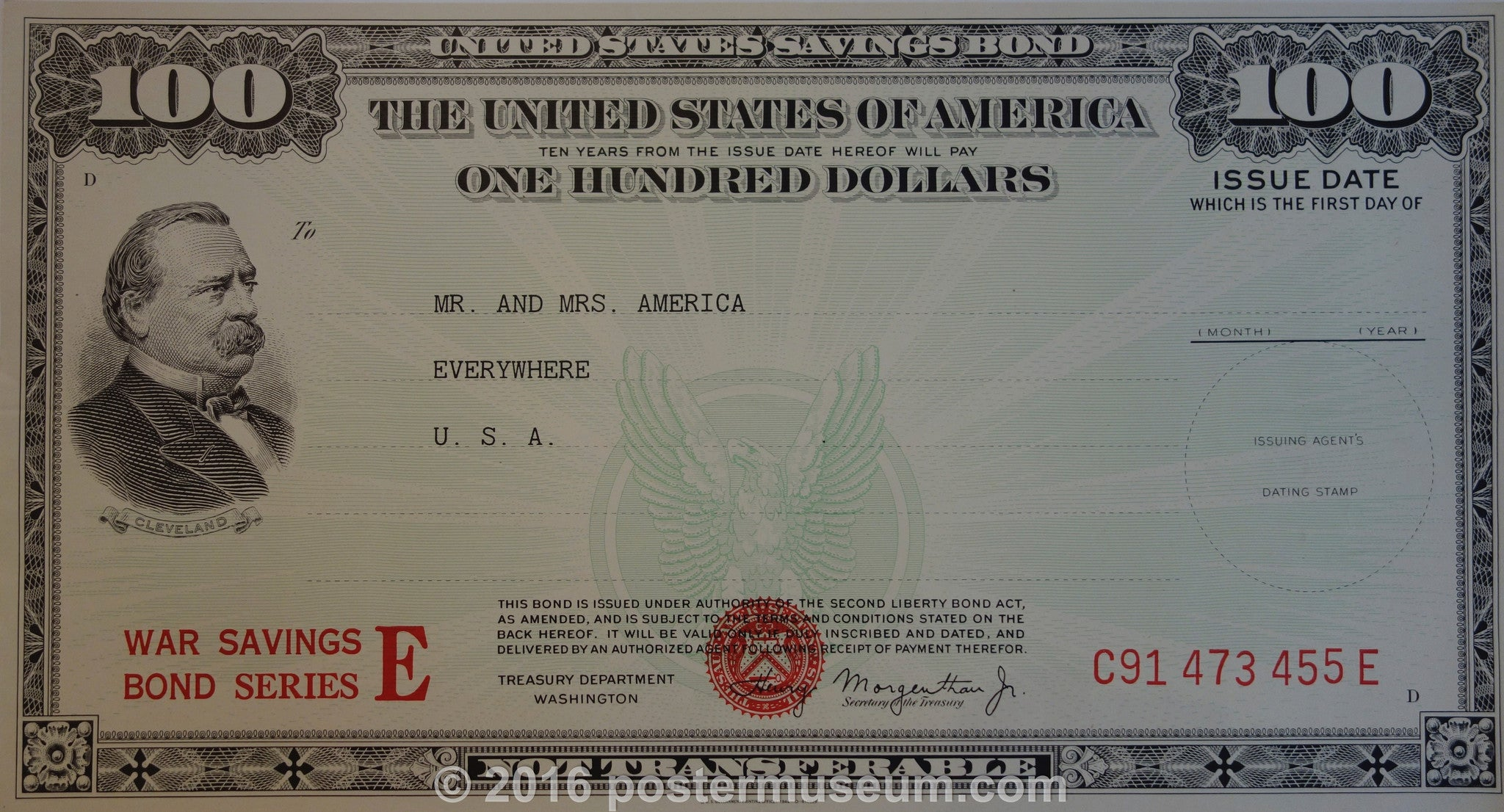 Grover Cleveland One-Hundred Dollar United States Savings Bond