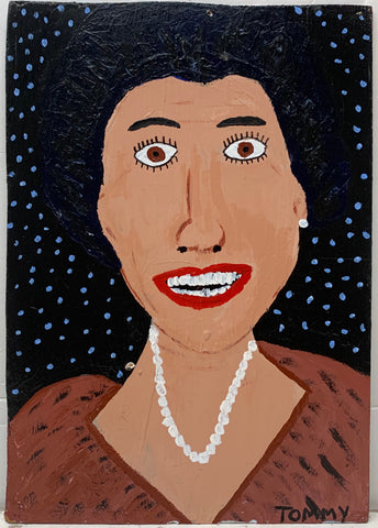 A Tommy Cheng portrait of Kitty Carlisle-Hart with a pearl necklace and red dress.