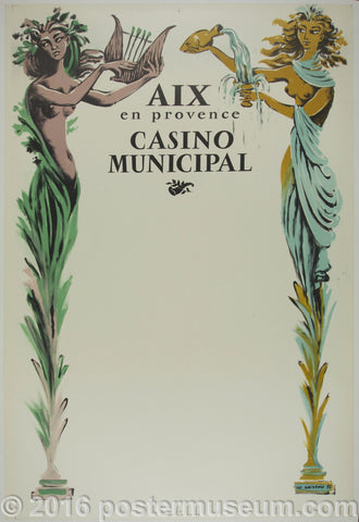 Aix en Provence Casino Municipal Antique poster