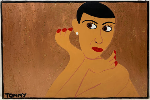 A Tommy Cheng portrait of Jadin Wong nude with a pearl earring and red nail polish.