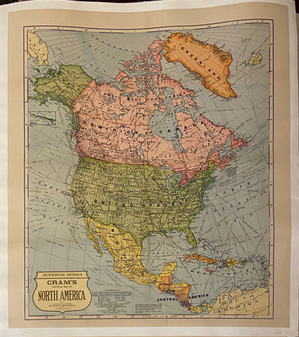 Cram's Map of North America Vintage Poster