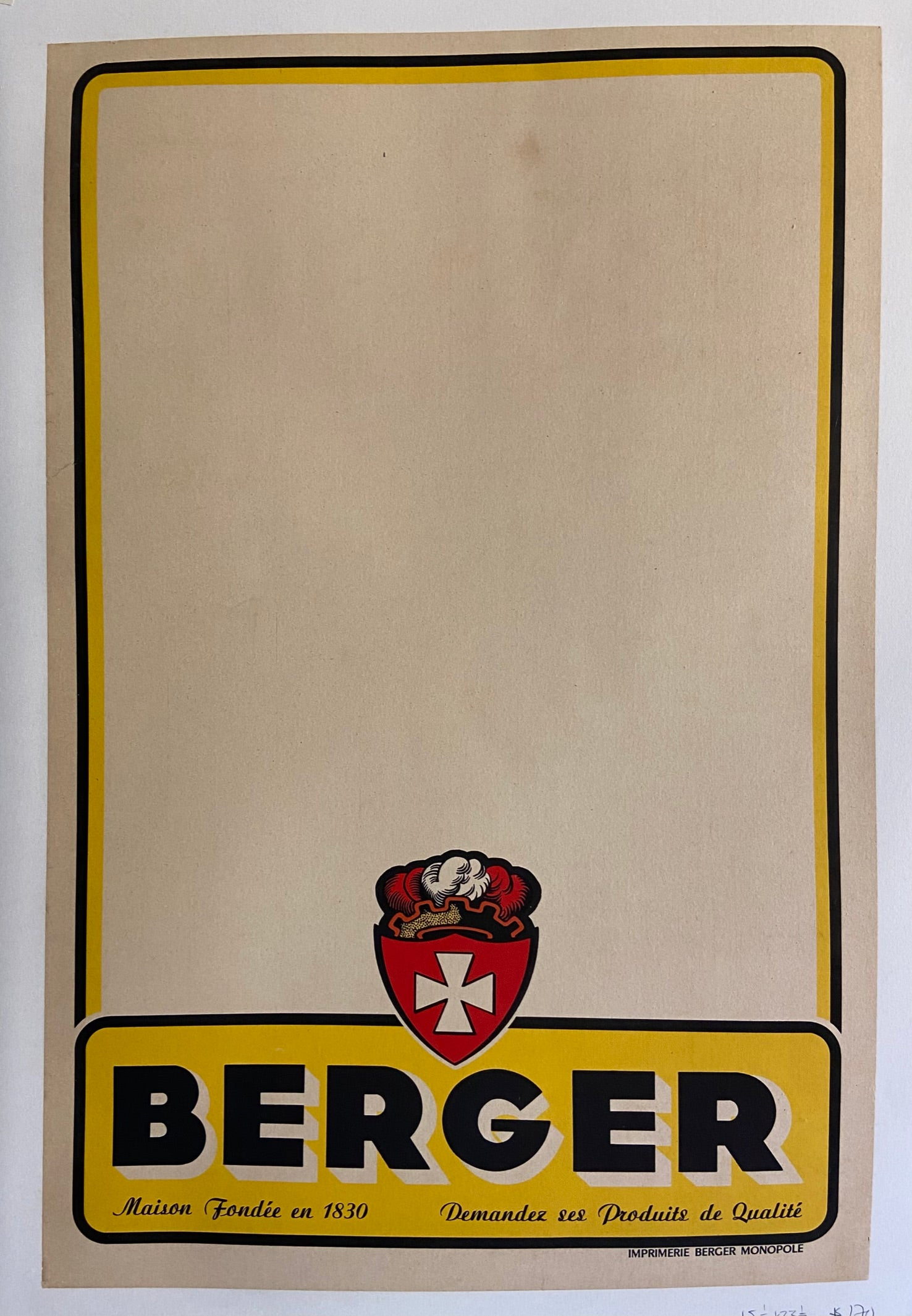 Poster for Berger aperitif, featuring the company logo and a minimalist, beige design