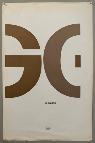 "A mostly plain paper has G and part of an E written across the middle in huge font. ""is graphic"" is written below in smaller font, and the tudio address is written much smaller towards the bottom. The colors used in this are brown, grey, and a white paper."