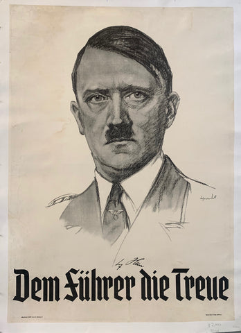 A pencil sketch of Hitler's head with the words below it in German lettering.