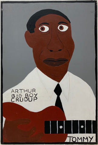 Tommy Cheng portrait of Arthur Big Boy Crudup in a white dress shirt and play a red-brown guitar.