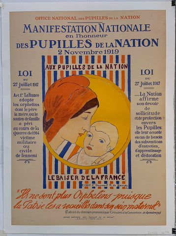 Manifestation Nationale en l'honneur des Pupilles de la Nation 2 Novembre 1919