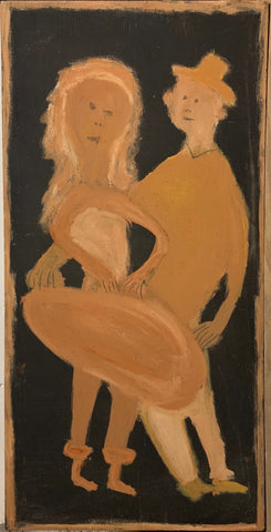 A painting of a man and woman in love.