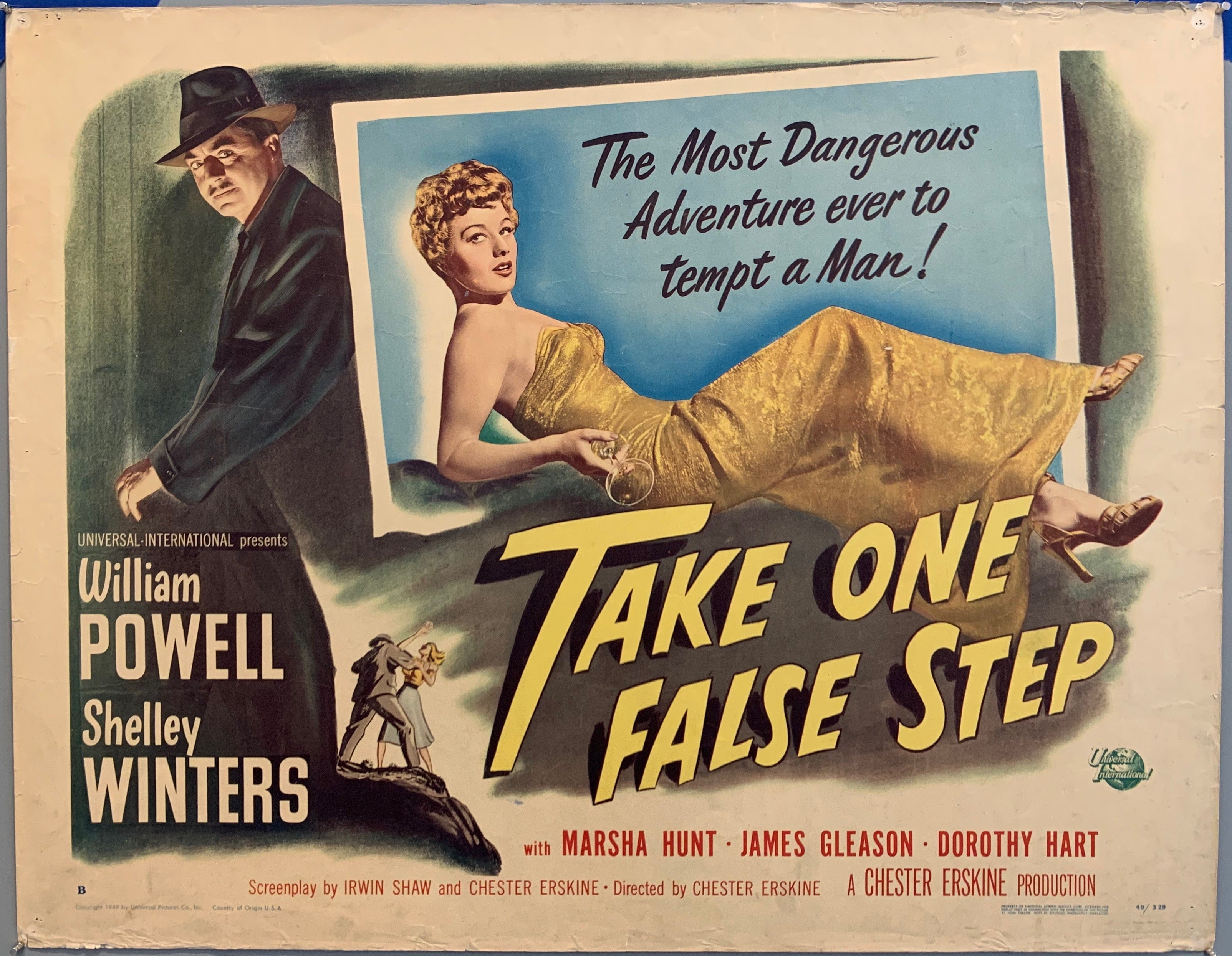 take one false step poster, the most dangerous adventure woman in dress man lurking in shadows