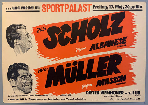 Poster shows drawn faces of both wrestlers next to the names over red stripes.